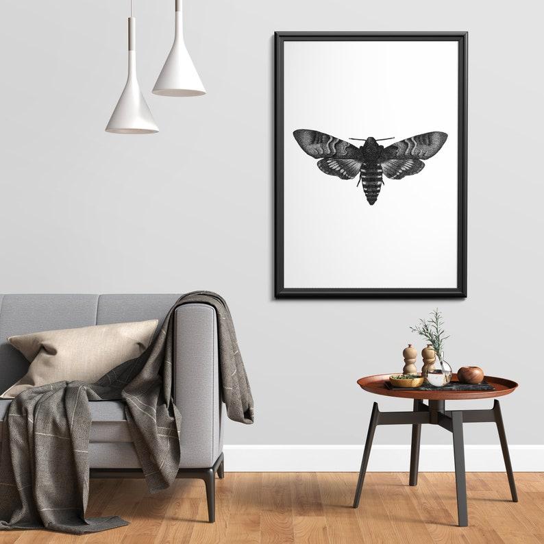 Moth art print  Dotwork stipple illustration of Moth  Hand image 0