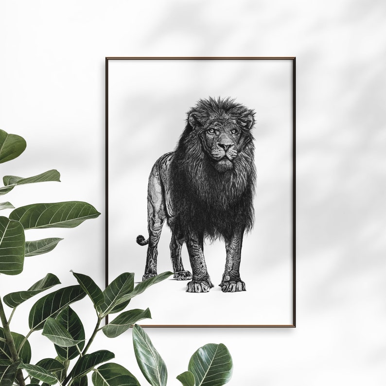 Lion art print  Dotwork stipple illustration of Lion  Hand image 0