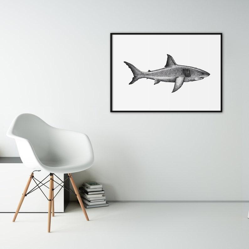 Shark art print  Dotwork stipple illustration of Great White image 0