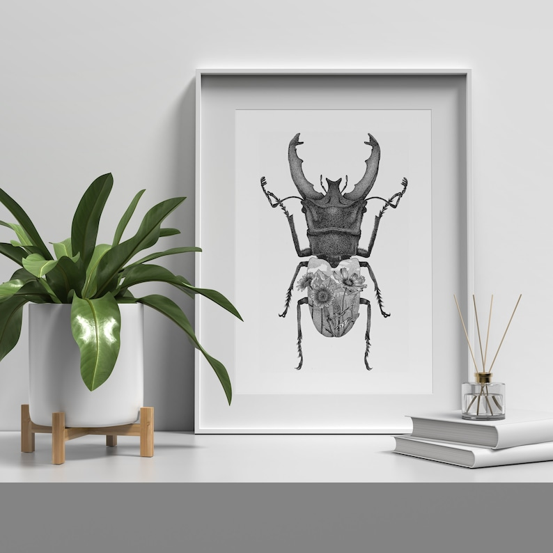 Stag beetle with flowers  Dotwork stipple art print of bug  image 0