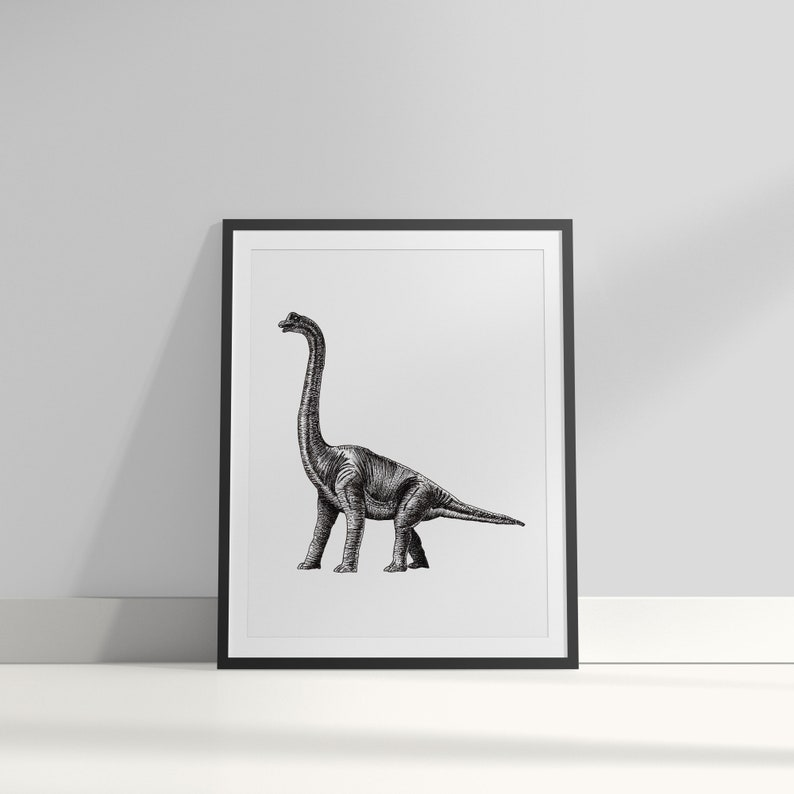 Diplodocus art print  Dotwork stipple illustration of image 0