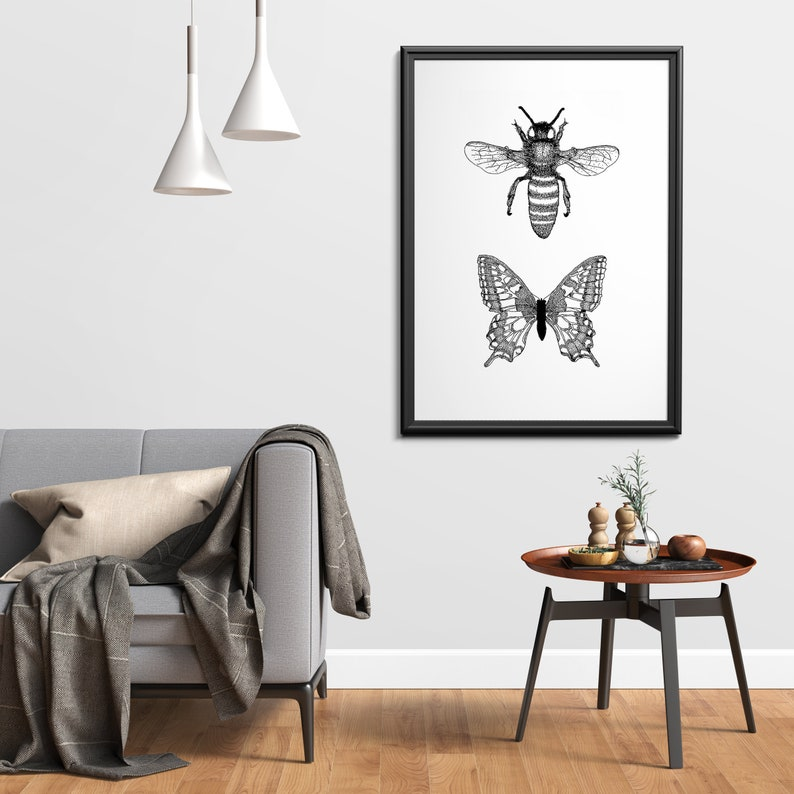 2 insect bee and butterfly art print  Dotwork stipple image 0