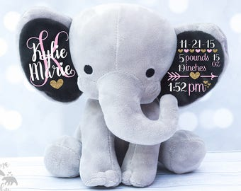 Baby Girls Birth Stat Elephant,  Keepsake Elephant, Birth Announcement Elephant, l Elephant Plush, Newborn Gift, Personalized Elephant