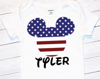 Baby Boy's Mickey Fourth Of July Onesie, Toddler Fourth Of July Shirt, 4th Of July Outfit, Disney Onesie, Personalized Fourth Of July onesie
