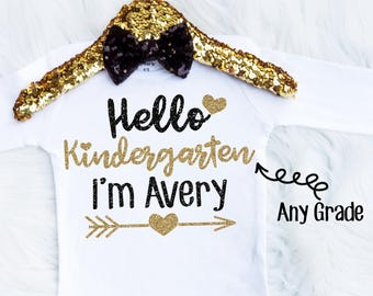Personalized Hello Kindergarten Shirt - Girls Kindergarten Shirt - Toddler Kinder Shirt - Toddler Kindergarten Shirt- Toddler School Shirt