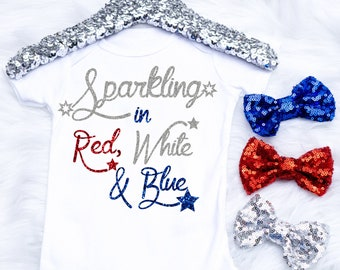 Baby Girl's 4th Of July Onesie, Fourth Of July Onesie, Sparkling in Red White and Blue, 4th Of July Outfit, Toddler 4th Of July Shirt