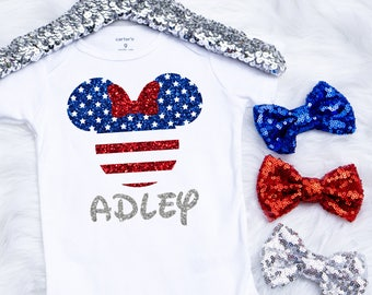 Baby Girl's 4th Of July Onesie, Fourth Of July Onesie, Minnie Onesie, 4th Of July Outfit, Toddler 4th Of July Shirt, Disney Shirt