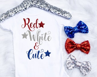 Baby Girl's 4th Of July Onesie, Fourth Of July Onesie, Red White and Cute Outfit, 4th Of July Outfit, Toddler 4th Of July Shirt