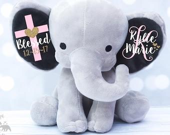 Baby Girls Baptism Gift,  Keepsake Elephant, Christening Gift, Monogrammed Elephant, Blessed Gift, Confirmation Gift, Personalized Elephant