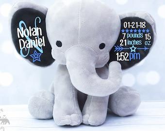 Baby Boys Birth Stat Elephant Plush,  Keepsake Elephant, Birth Announcement Elephant, Monogrammed Elephant, Newborn Gift, Personalized plush