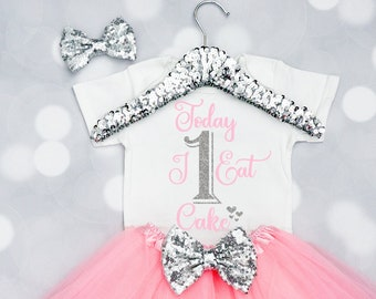 Baby Girls Birthday Girl Outfit, Today I Eat Cake Onesie, Birthday Girl Onesie, first Birthday Onesie, First Birthday Outfit