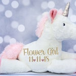 Baby Girls Personalized Unicorn Plush, Unicorn Toy, Unicorn Stuffed Animal, Flower Girl Gift, Birthday Gift, Flower Girl Present