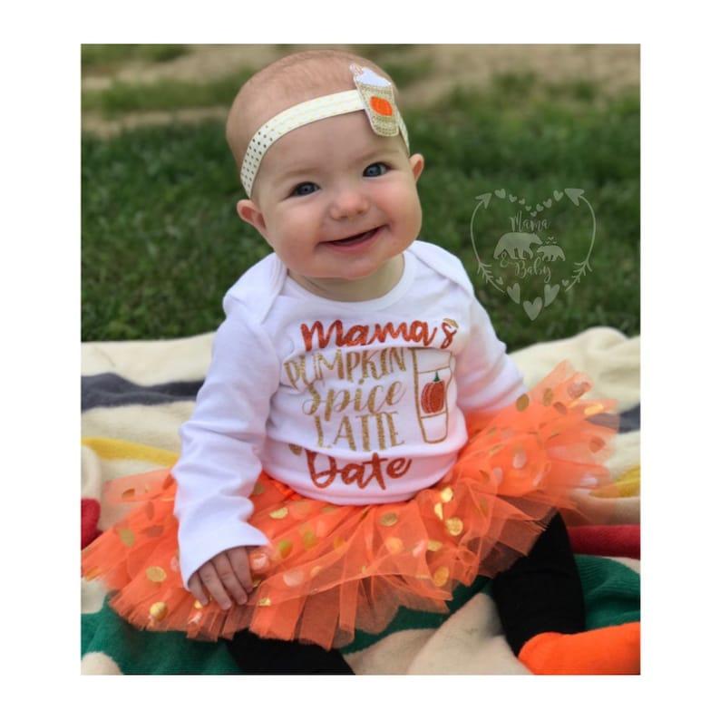 Baby Girl's Pumpkin Spice Latte Date Onesie  Thanksgiving image 0