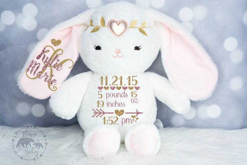 Baby Girls Birth Stat Bunny Personalized Plush Birth image 0