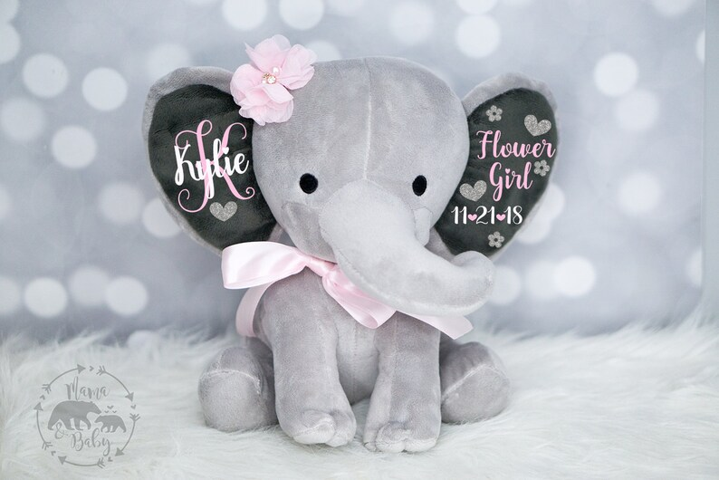 Baby Girls Flower Girl Elephant  Keepsake Elephant Flower image 0