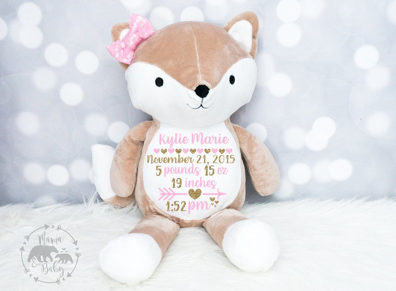 Baby Girls Birth Stat Plush Fox  Birth Announcement Stuffed image 0