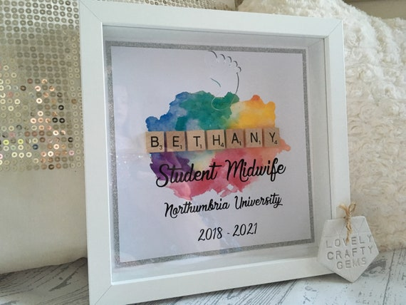 Student Midwife Drop Box GLITTER TRIM, Student Midwife Birth Register,  Student Midwife Gift, Christmas Gift, Midwife Frame, Midwife Gift