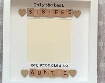 unique gift for a sister who is also an auntie scrabble art frame photograph option handcrafted personal birthday present christmas