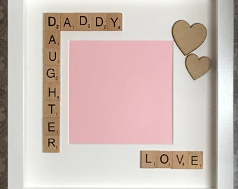 Daddy and daughter photo gift - scrabble art frame - gift for dad daddy fathers day birthday everyday present! christmas gift