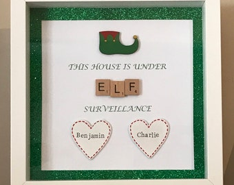 this house is under elf surveillance - scrabble art frame - colour options & personalised with childrens names - christmas!