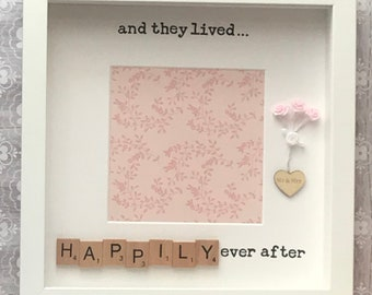 Wedding engagement scrabble art photo frame gift idea or keepsake 'and they lived happily ever after' can be personalised