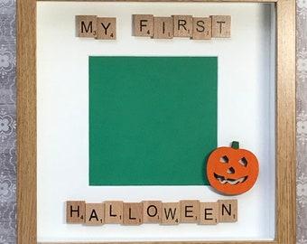my first halloween scrabble art frame pumpkin memento memory frame babies 1st