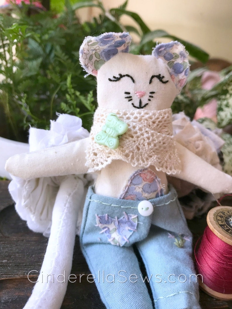 Miss Tulip Cloth Doll Sewing Pattern Mouse Doll Sewing image 0