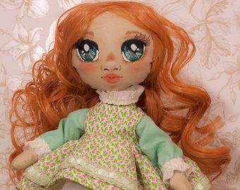 Collectible doll handmade cloth curly hair and spring dress, face painted manga style, home decor, birthday present for girl