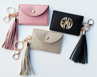 5248070848a7 Monogram Card Holder Keychain Wallet ID Case Bridesmaid Gift Back To School  College Gift Tassel Keychain Personalized Wallet Rose Gold