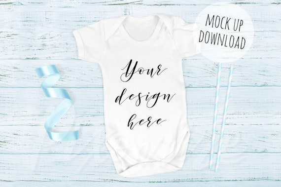 64d5fce29 Baby Onesie Mockup Blue Baby Grow Mock Up Photograph - New Mockups ...