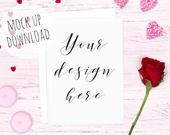 Love Themed Card Mockup Valentines Card Mock Up Photography Etsy