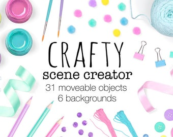 Download Free Crafty Scene Creator, Moveable Mockup, Arts and Crafts Props, Flay Lay Custom Scene Photography, Top View, Includes Card Mock Ups PSD Template