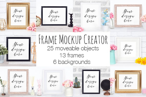 Frame Mockup Creator Scene Creator With Moveable Objects and