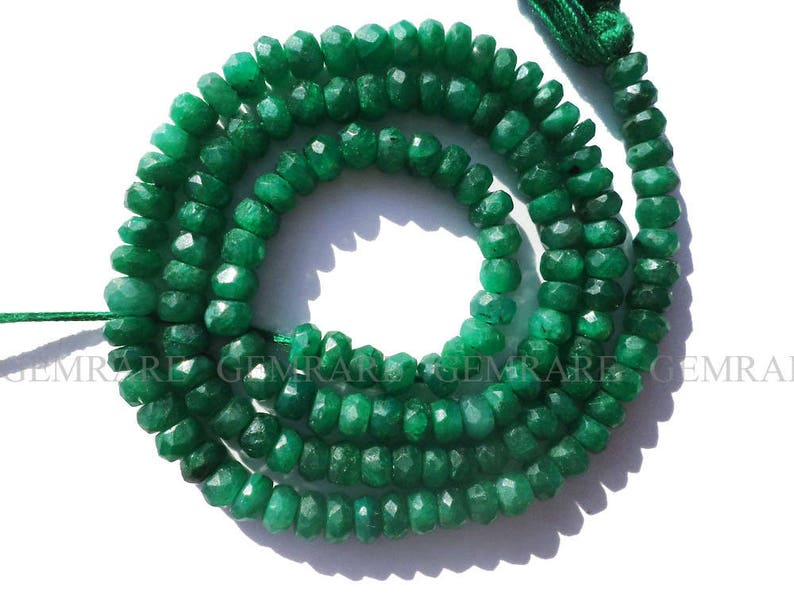 Semiprecious Gemstone Beads 36 cm Dyed 14 Inch Emerald Beads In Rondelle Faceted Shape EME-0071 3.50 to 4 mm 133 pieces Quality AA+