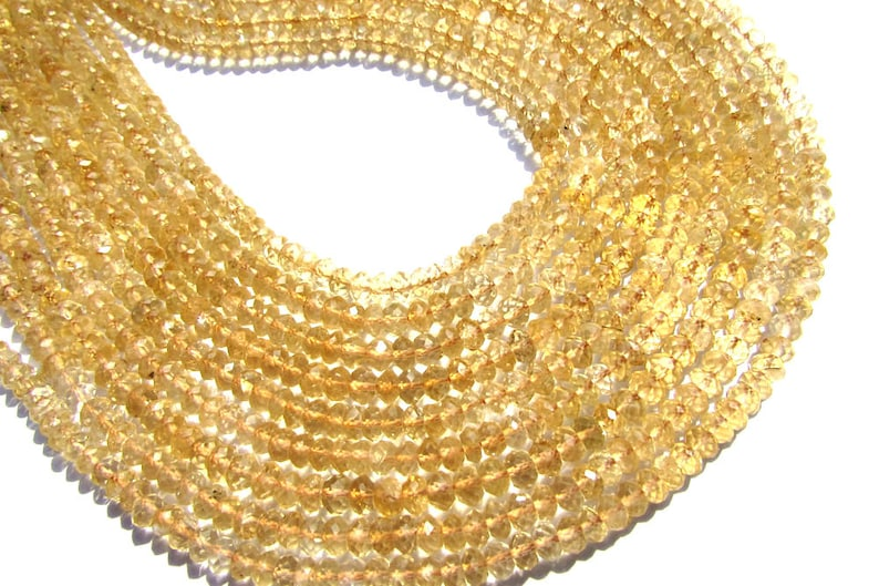36 cm Rondelles Faceted Beads In Citrine Beads 115 pieces 4.50 mm Semiprecious Gemstone Beads Quality AA+ CI-1781