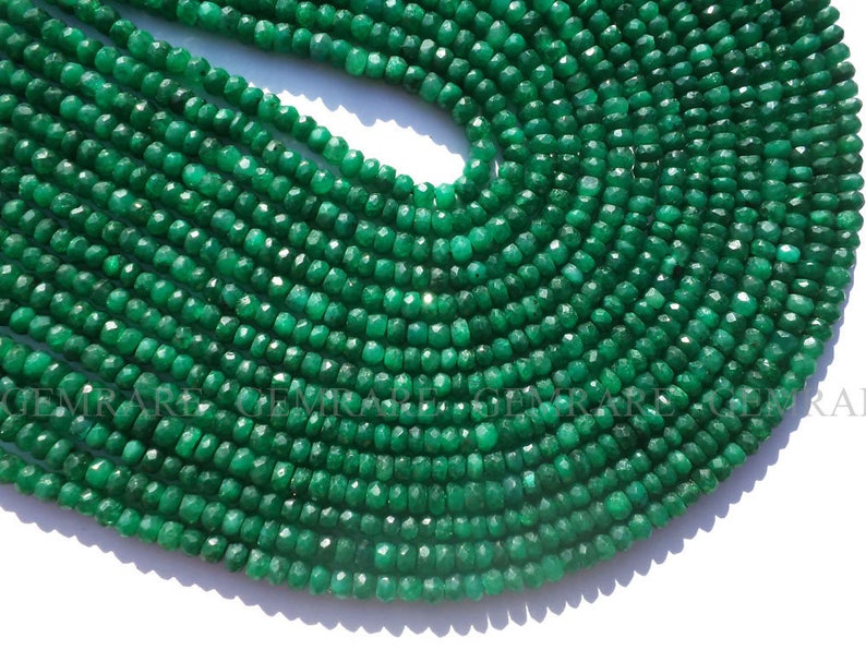 Quality AA+ 14 Inch Emerald 133 pieces EME-0071 Dyed Beads In Rondelle Faceted Shape 3.50 to 4 mm 36 cm Semiprecious Gemstone Beads