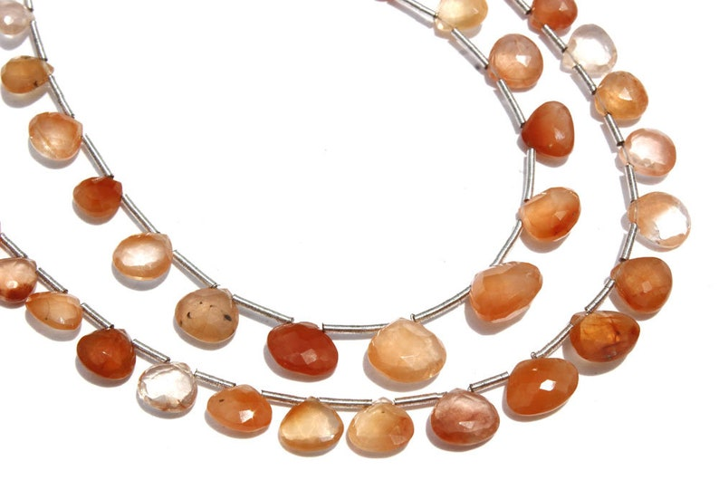 5.50 to 8.50 mm 18 cm Semiprecious Gemstone Beads Quality AA+ Heart Faceted TAN-0021 24 pieces Tangerine Quartz Beads