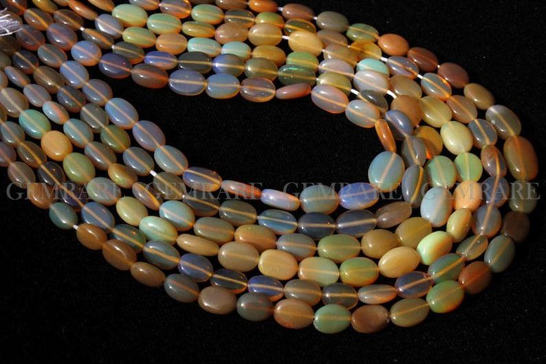 44 piece 3.50x4.50 to 7x9.50 mm Quality A Semiprecious Gemstone Beads Oval Smooth ET-0482 Ethiopian Opal Beads 36 cm