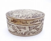 Antique Asian Silver Trinket Snuff Box with Lid, Ring Bearer Box, Engagement Ring Box, Wedding Ring Box, Floral Design, Signed