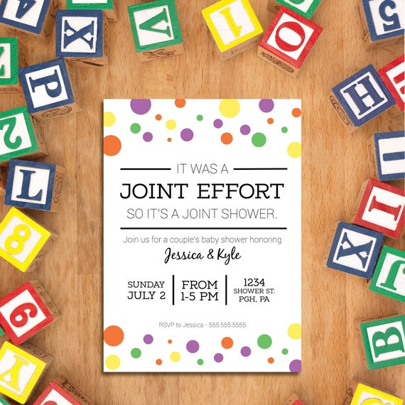 Joint Baby Shower Joint Baby Shower Invitation Couples Etsy