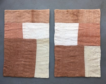 A Set of Plant Dyed Patchwork Placemats / Quilted Tablemats