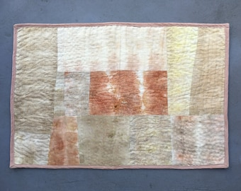 Hand quilted naturally dyed patchwork wall hanging
