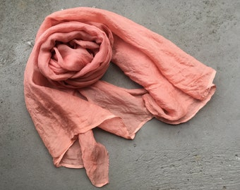Naturally dyed scarf / Silk chiffon scarf / Hand dyed silk scarf / Botanically dyed silk chiffon scarf