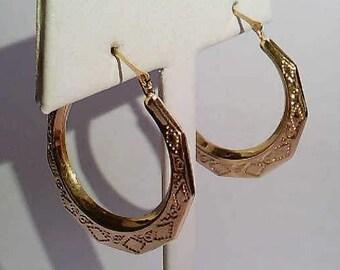 Vintage Estate 14K Yellow Gold Filigree Hoop Earrings