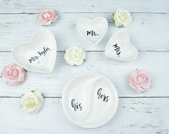 Personalized Ring Dish   His/Hers   Mr/Mrs   Last Name   Wedding/Anniversary Gift