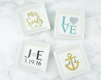 Personalized Ring Dish   Mr/Mrs   His/Hers   Love   Anniversary/Wedding Gift   Anchor