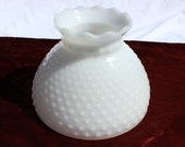 Sale Vintage Hobnail Pattern Ruffled White Milk Glass Replacement Hurricane Shade