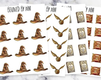 Harry Potter Planner Stickers - Gryffindor Stuffs Part 1 - Sorting Hat/Snitch/History of Magic/Pillow