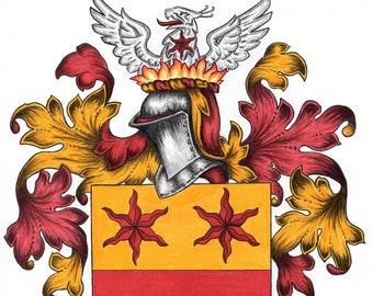 Custom Coat of Arms Commission - Full Heraldic Achievement - Crest Gift Wall Art