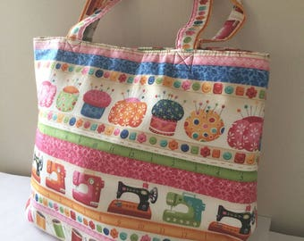 Luxury Knitting Tote Bag Shopping Bag Craft Gift Hobby Sewing Yarn- Cream & Colourful